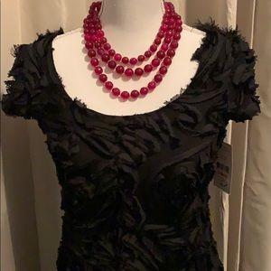 NWT Karen Kane Rose Ruffle Black Dress
